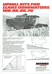 CLAAS Dominator 106, 96, 86, 76 Uphill Kits
