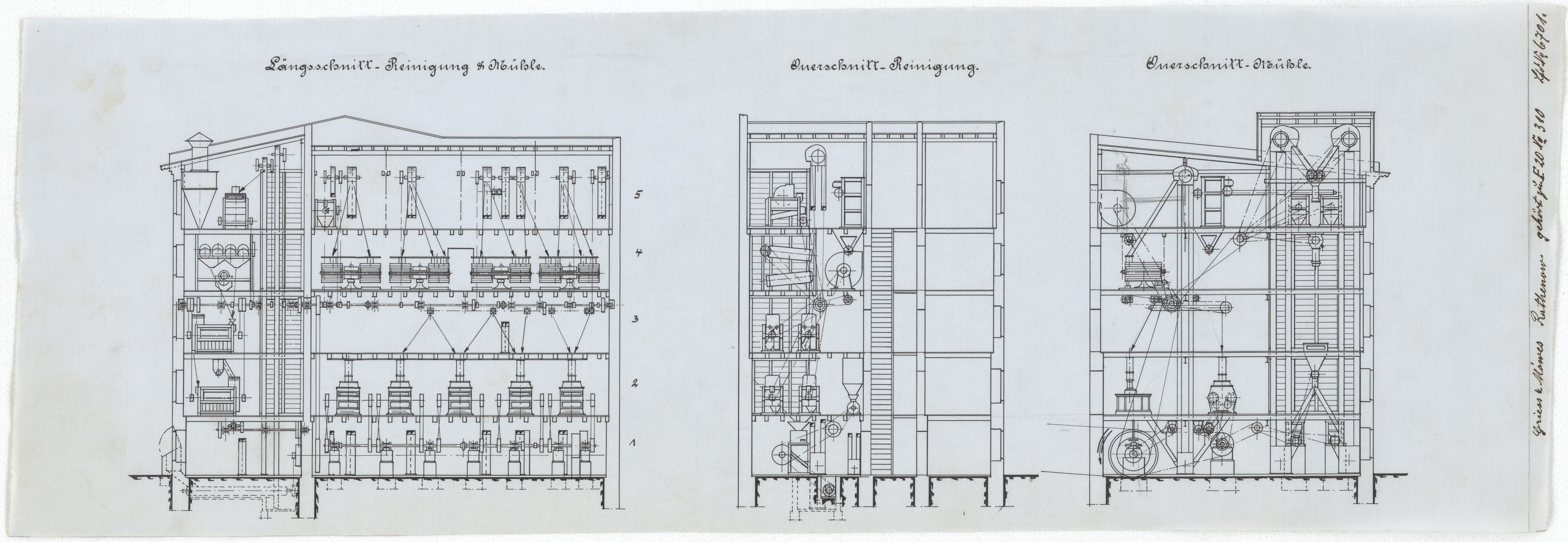 Technische Zeichnung : [Projekt zum Neubau einer Roggenmühle für die Herren P. Griess & Moewes, Rathenow] (Stiftung Deutsches Technikmuseum Berlin CC BY-SA)