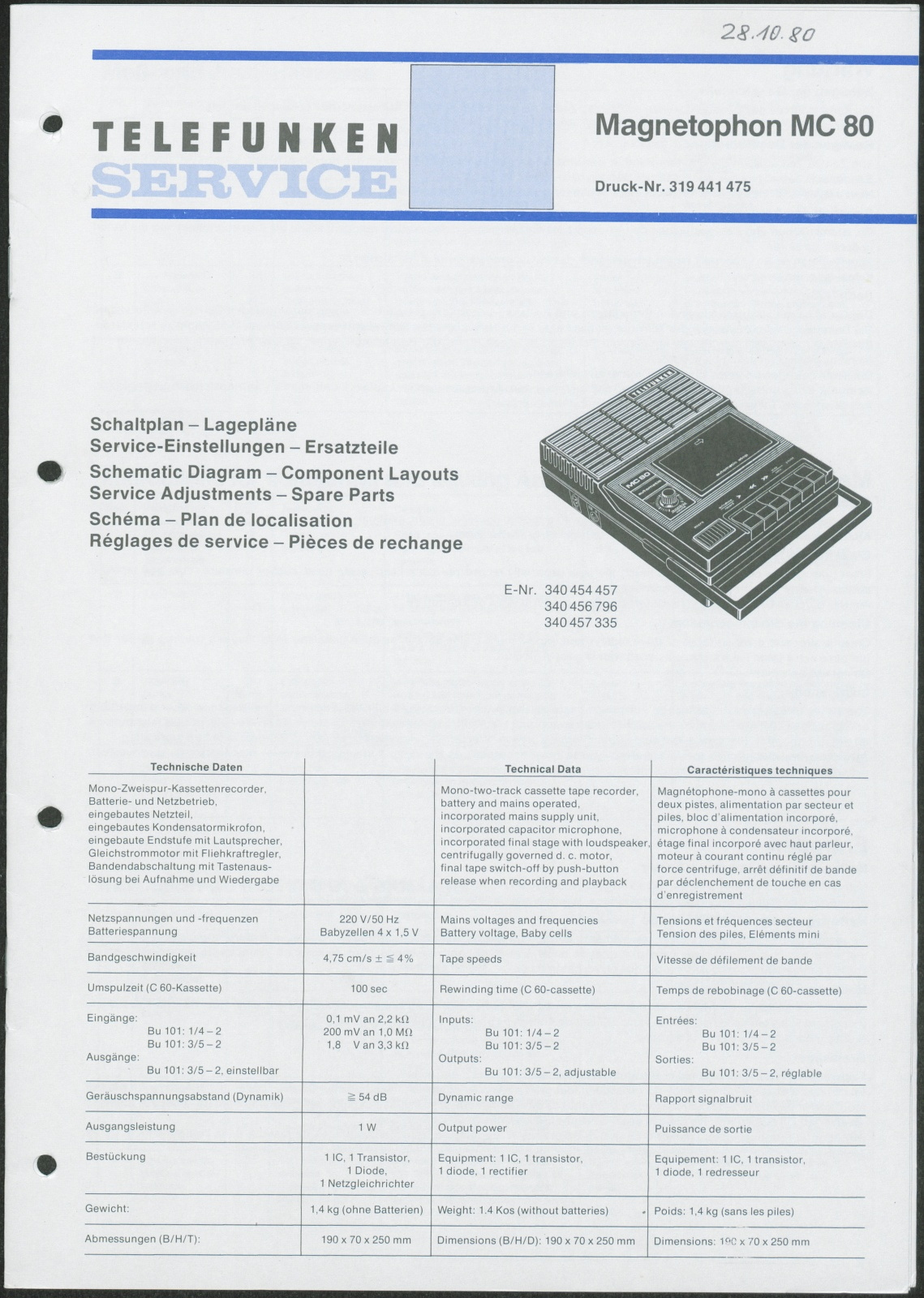 Bedienungsanleitung: Telefunken Service für Telefunken Magnetophon