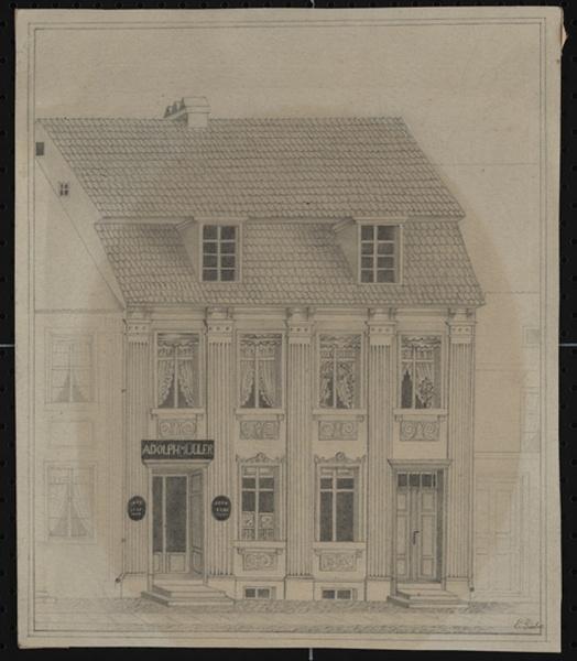 frontalperspektive der buchhandlung von adolph m ller in brandenburg stadtmuseum brandenburg. Black Bedroom Furniture Sets. Home Design Ideas