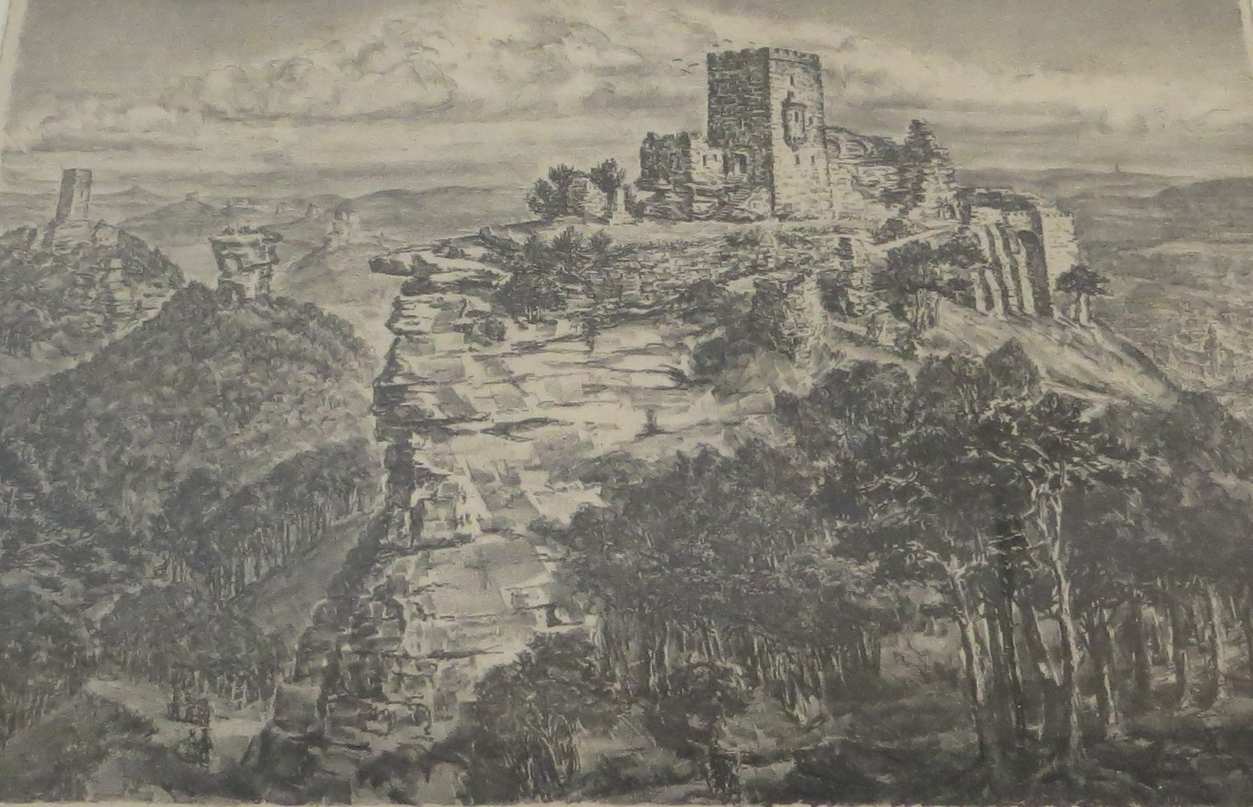 Lithographie, Der Trifels (Museum der Stadt Bad Bergzabern CC BY-NC-SA)