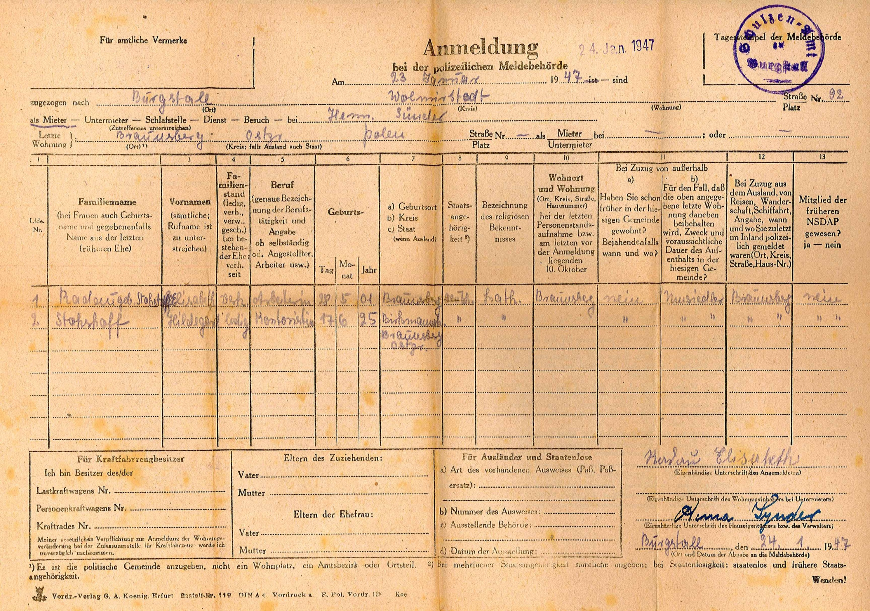 Polizeiliches Meldeformular für Hildegard Stohßhoff und Elisabeth ...
