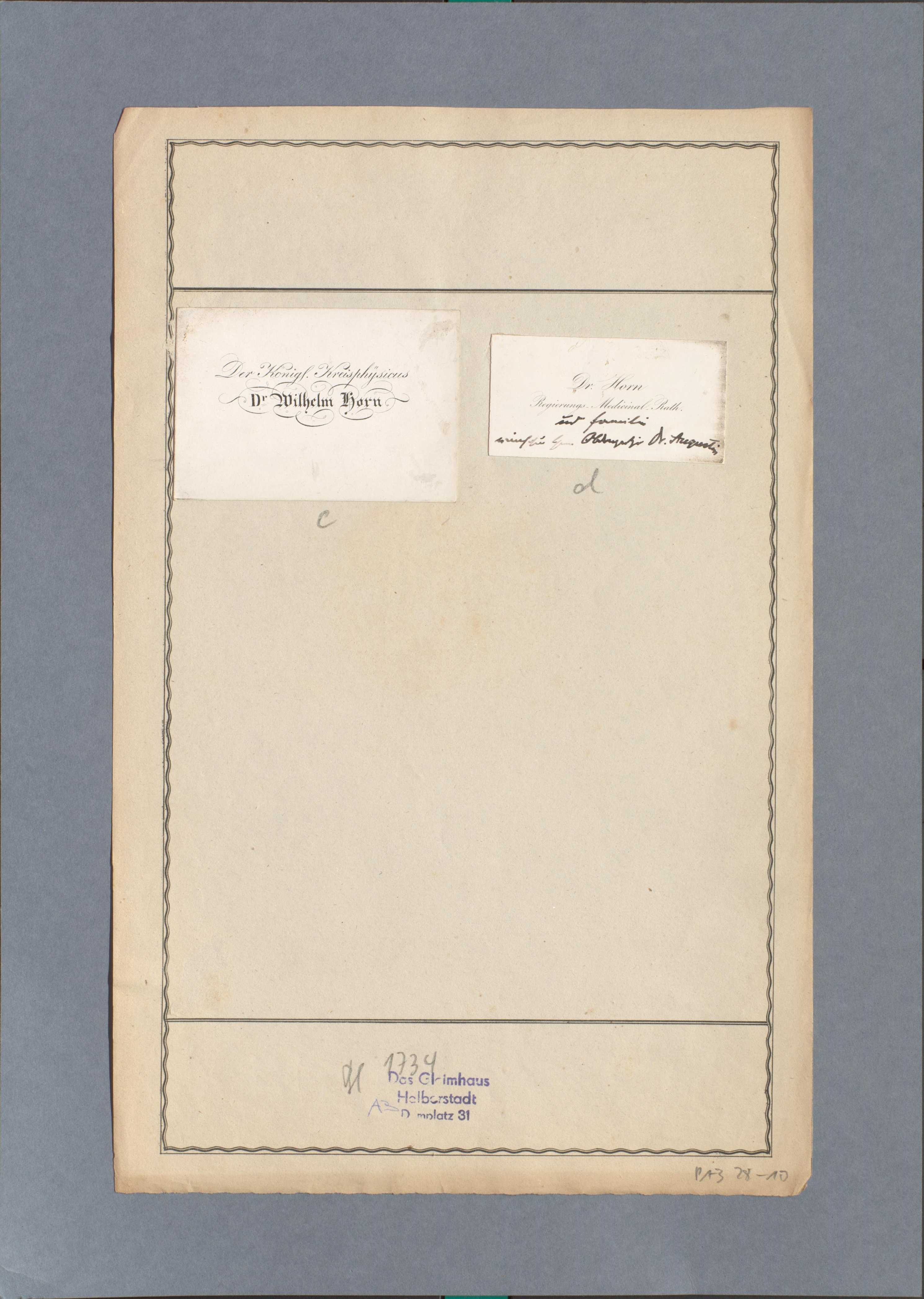 Visitenkarten Von Dr Wilhelm Horn Gleimhaus Museum Der