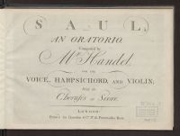 Saul; an oratorio : for the voice, harpsichord, and violin ; with the ...