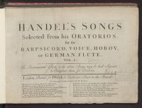 Handel's songs selected from his oratorios : for the harpsicord, ...