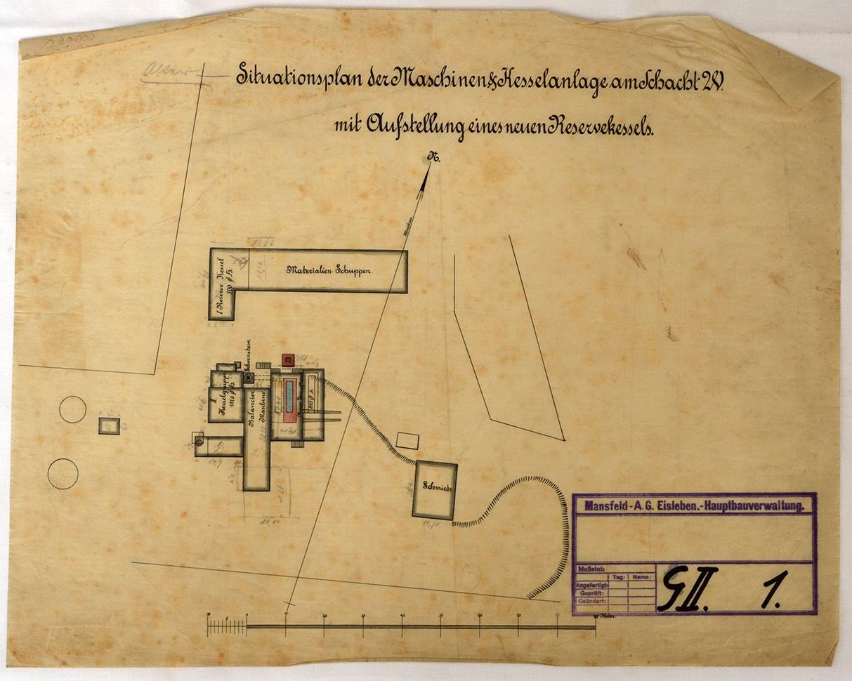 Situationsplan der Maschinen & Kesselanlage am Schacht 20 mit ...