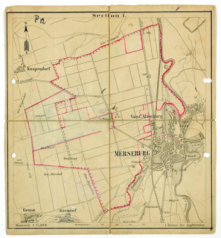Karte Von Merseburg Mit Knapendorf Geusa Und Atzendorf Section