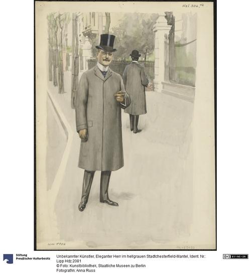 Eleganter Herr im hellgrauen Stadtchesterfield Mantel
