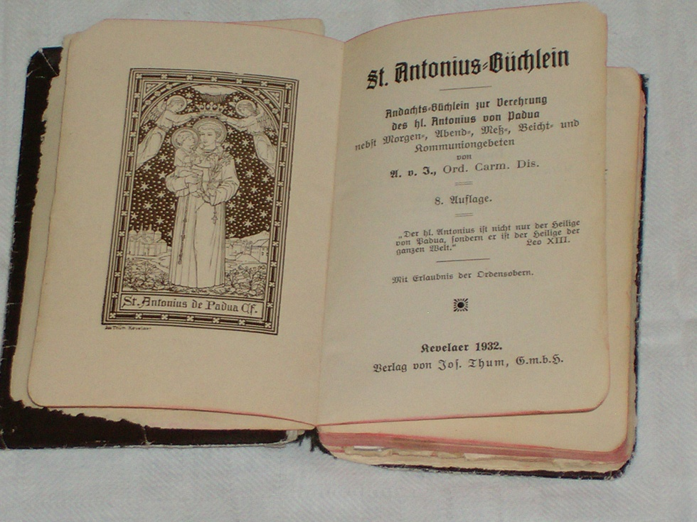 "Andachtsbuch ""St. Antonius-Büchlein"" (Heimatmuseum der Stadt Marsberg CC BY-NC-SA)"